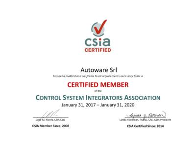 CSIA Certificate Autoware