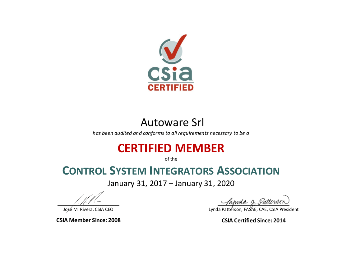 Renewing Our Csia Certification Autoware